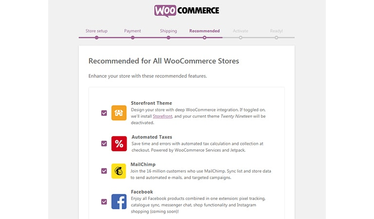 woocommerce tutorial - Choose Optional Features