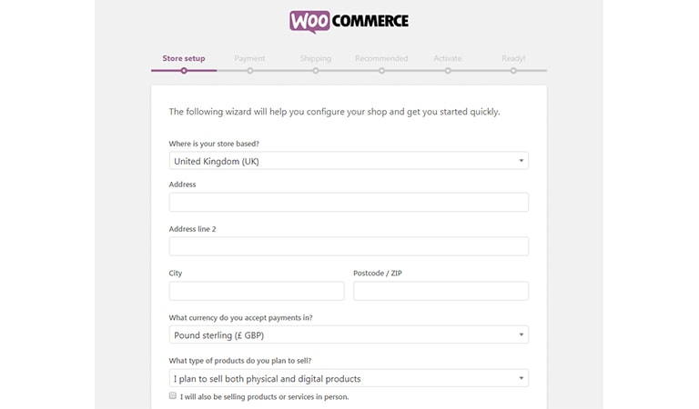 woocommerce tutorial - Access the Setup Wizard